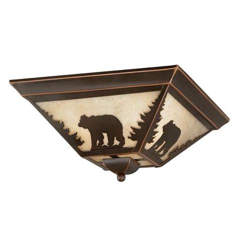 New 3 Light Rustic Bear Flush Mount Ceiling Lighting Rustic Ceiling Light Fixture