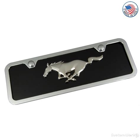 mustang license plates ford mustang new chrome logo on mini license plate and frame