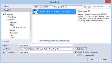 Creating A Basic Asp Net 4 5 Web Forms Page In Visual Studio 2013 Microsoft Docs Asp Net Web Site Template Visual Studio 2012