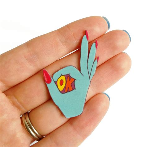 Pin Ok Sign brooch pin ok sign rainbow shrink by