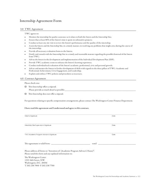 Internship Agreement Letter Format Internship Agreement Form The Washington Center Free