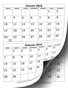 printable calendar multiple months printable 2016 calendar two months per page
