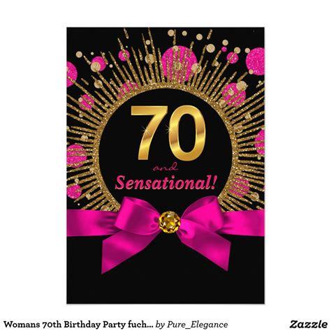 Ee  Womans Ee    Ee  Th Ee    Ee  Birthday Ee   Party Fuchsia And Gold Invitation