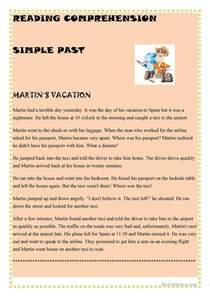 simple past reading comprehension worksheet free esl