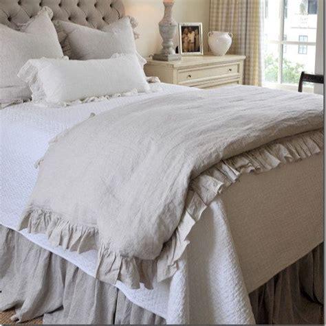 shabby chic king duvet ruffle linen duvet cover features easy flow ruffles