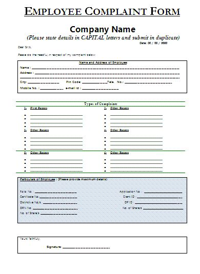 hr complaint form template employee complaint form a to z free printable sle forms