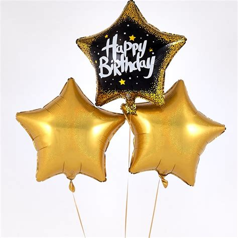happy birthday black star golden balloon bouquet inflated  delivery cardfactory