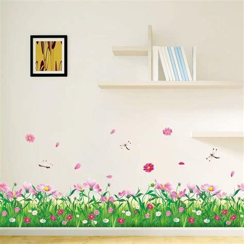 Beautiful Pink Flower Green Grass With Butterflies Wall Garden Wall Stickers