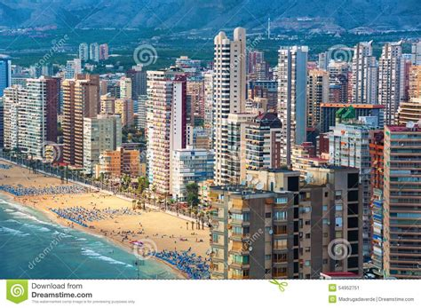 aerial view of summer resort benidorm spain royalty free stock photography cartoondealer com