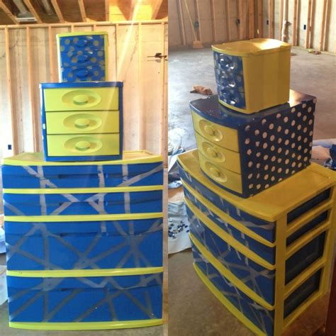 painted sterilite drawers just use krylon spray paint for