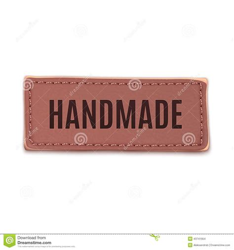 Handmade By Stickers - handmade vintage leather label stock vector image