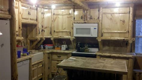 Rustic Log Kitchen Cabinets Handmade Rustic Log Kitchen Cabinets And Bar By Drew S Up Custommade