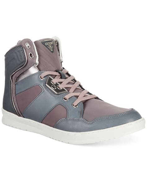 guess high top sneakers guess tucker high top sneakers in gray for grey lyst