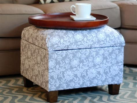 how to cover a storage ottoman with fabric how to re cover an upholstered ottoman how tos diy