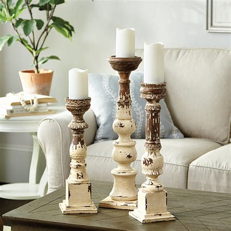 Distressed Floor Candle Holders - grand distressed wood candle holder ballard designs