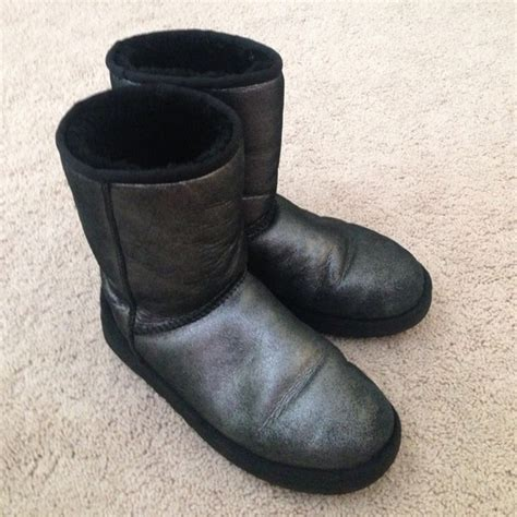 25 ugg boots classic black silver shiny uggs