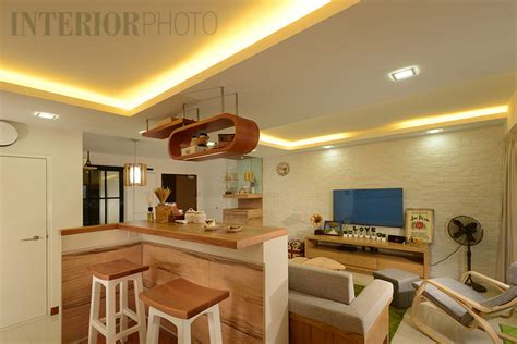 Timber Bar Counter Anchorvale Crescent Bto 5 Room Flat Interiorphoto