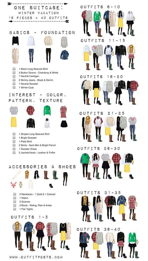 Winter Wardrobe Checklist by One Suitcase Winter Vacation Checklist Graphic