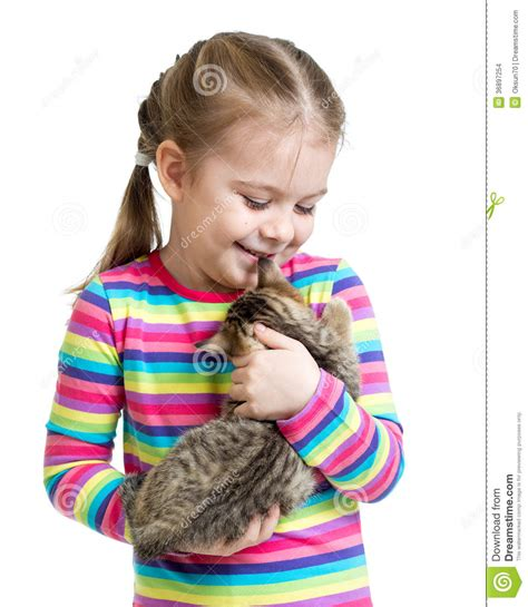 cat child happy child holding kitten isolated on white stock