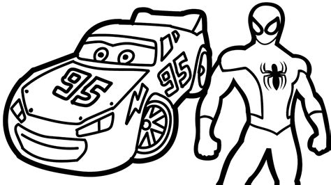 spiderman and lightning mcqueen coloring book coloring
