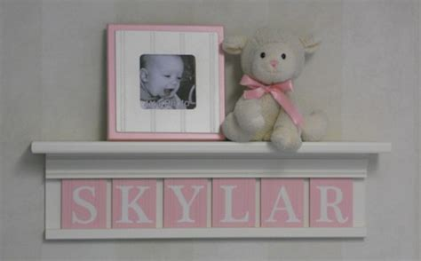 Personalized Shelf by Skylar Personalized Nursery Room Decor Wall Shelf Pink