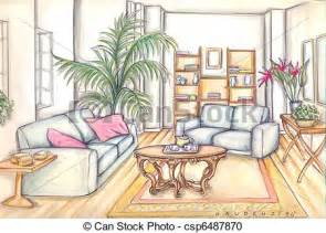Living Room Drawing Easy Stock Illustration Of Living Room Furniture Csp6487870