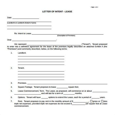 Lease Letter Of Intent Letter Of Intent Real Estate 9 Free Documents In Pdf Word