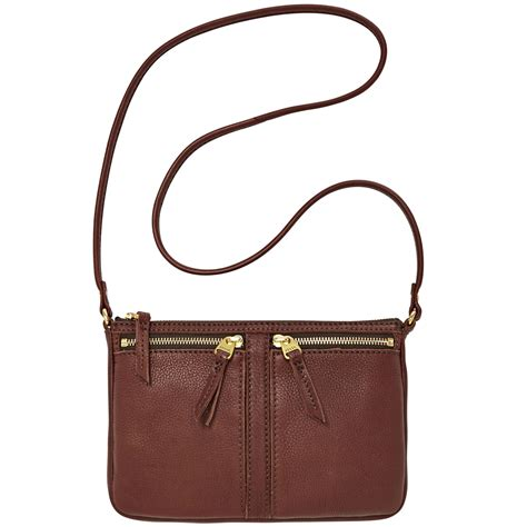 Fossil Erin 2zip Brown fossil erin leather small top zip crossbody in brown espresso lyst