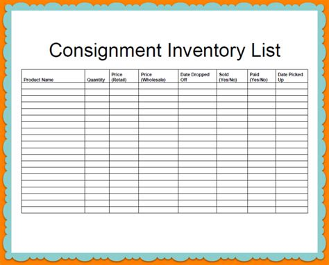 company consignment and inventory stock list template