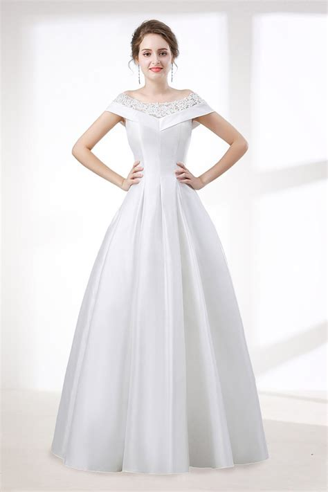 simple   satin wedding dress  lace  shoulder