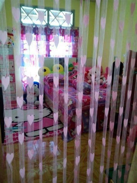 Gorden Benang Pink Ungu jual tirai benang motif yuli olshop