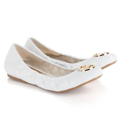 white flat ballet shoes michael kors fulton quilted ballet pumps