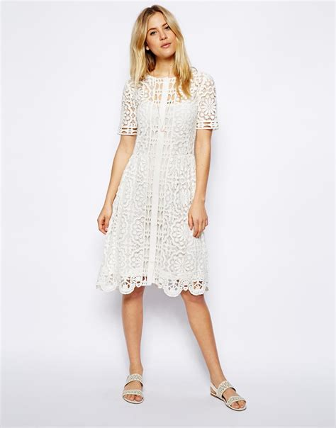 Dress Midi Kalung Premium asos premium lace midi dress in white lyst