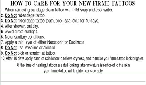 tattoo aftercare template getting a firme tattoo