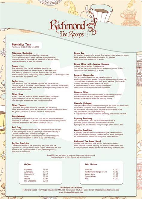 richmond tea rooms menu 2 of 2 price lists menus the richmond tea rooms manchester tearoom
