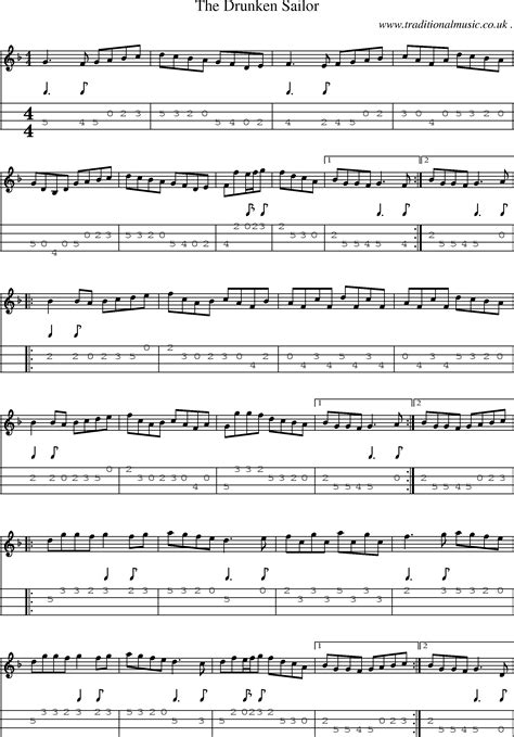 Sheet-Music and Mandolin Tabs for The Drunken Sailor