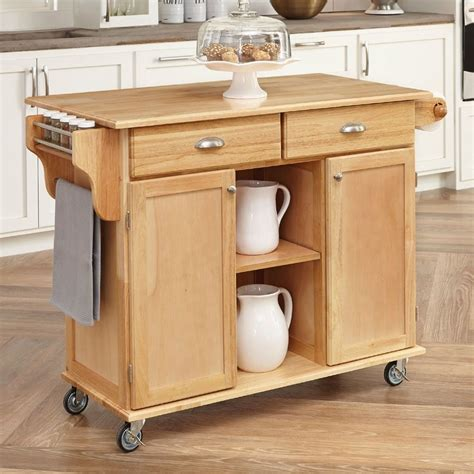 kitchen island on casters shop home styles brown scandinavian kitchen cart at lowes