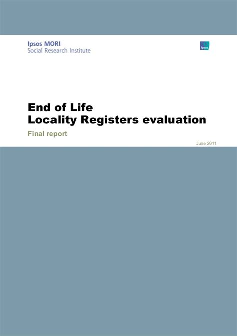pilot project evaluation report template locality registers pilot project reports by ipsos mori