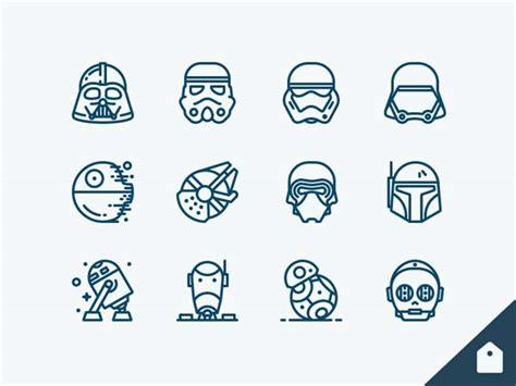 Sticker Set Helm Robot Line V1 wars icons freebie designermill