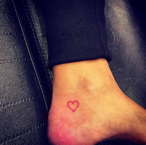 small pink heart tattoo outline ankle