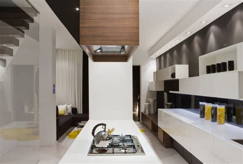 Modern House Interior In White And Black Theme Trinity House Interior Architecture Design