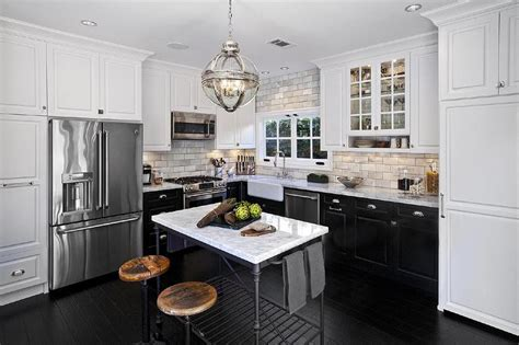 Kitchen With Only Lower Cabinets by White Cabinets And Black Bottom Cabinets With