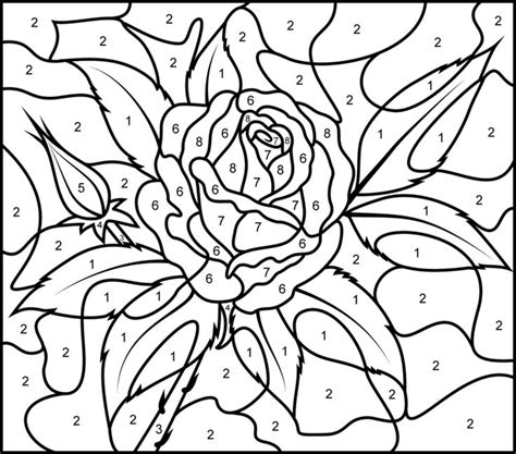 hard rose coloring pages 33 best images about color by numbers coloring pages on