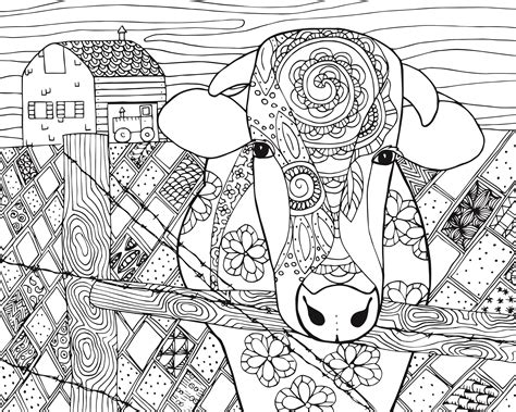 free online coloring pages for adults animals free cow animal coloring page for adults free adult