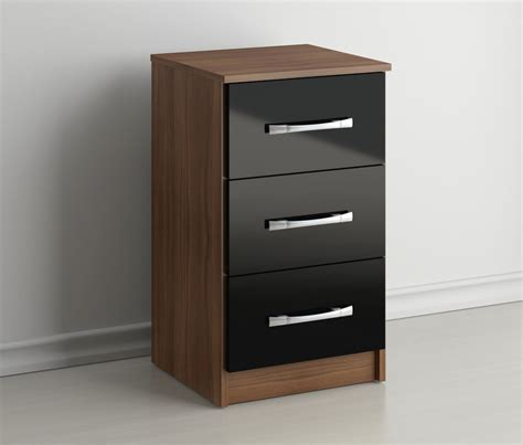black mirrored glass high gloss bedside table cabinet 3 rich walnut design 3 drawer bedside cabinet end l table