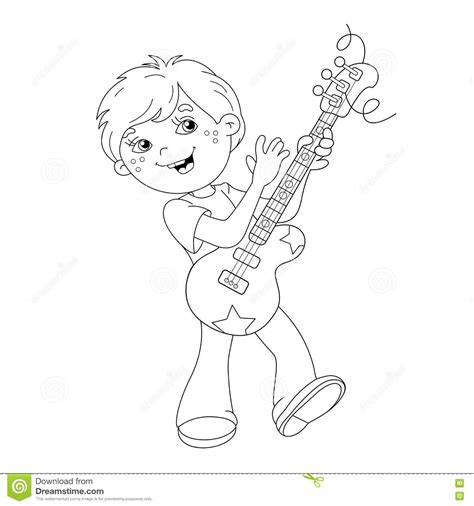 coloring page of boy and girl playing coloring page outline of cartoon boy playing guitar stock
