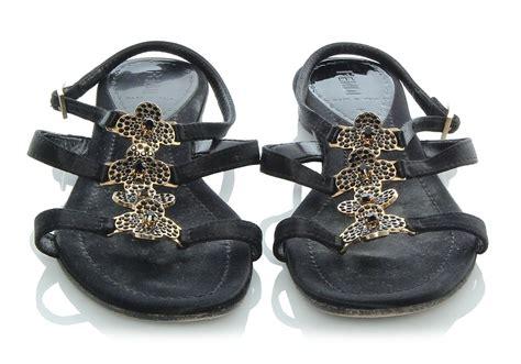 fendi black flower sandals size 38 5 8 5 shoes ebay