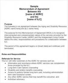 memorandum of agreement template memorandum of agreement 9 free pdf doc