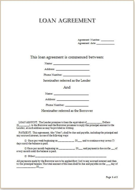Simple Loan Agreement Template Business Simple Loan Agreement Template