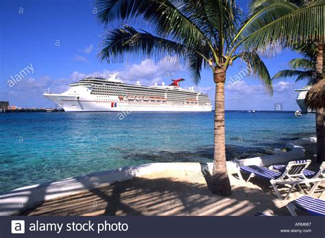 cruise cozumel carnival cruise ship at cozumel in mexico on the